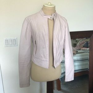 Guess light pink cropped leather jacket